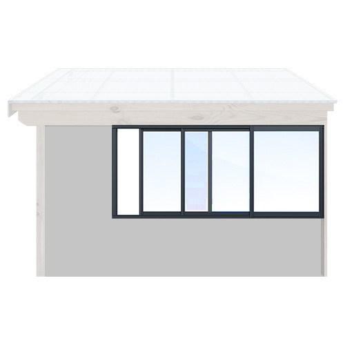 Isomax Skjutbart fönsterparti Antracitgrå 390 cm – 3 luckor Nej