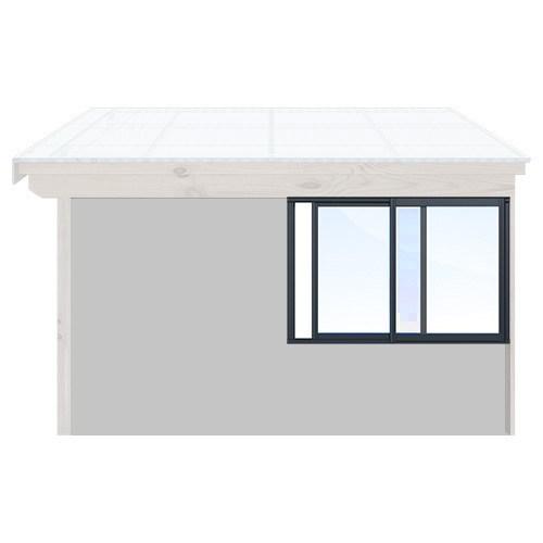 Isomax Skjutbart fönsterparti Antracitgrå 165 cm – 2 luckor Ja