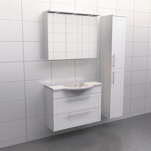 Källa Vit ram Frid 90 cm center Spegelskåp Ja + 30 cm