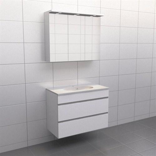 Källa Vit med aluminiumgrepp Balans 90 cm Spegelskåp Nej