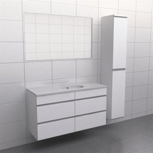 Källa Vit med aluminiumgrepp Balans 120 cm Spegel Ja + 30 cm