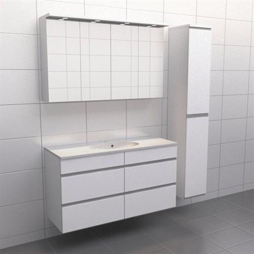 Källa Vit med aluminiumgrepp Balans 120 cm Spegelskåp Ja + 30 cm