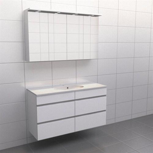 Källa Vit med aluminiumgrepp Balans 120 cm Spegelskåp Nej