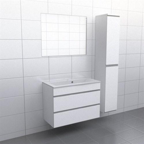 Källa Vit med aluminiumgrepp Vila 90 cm Spegel Ja + 30 cm