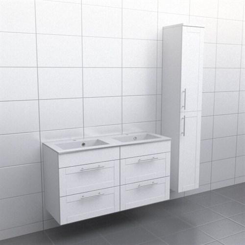 Källa Vit ram Vila 120 cm dubbel Ingen spegel Ja + 30 cm