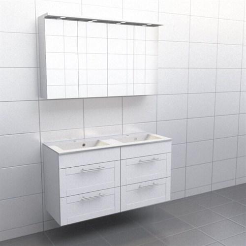 Källa Vit ram Vila 120 cm dubbel Spegelskåp Nej