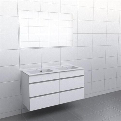 Källa Vit med aluminiumgrepp Vila 120 cm dubbel Spegel Nej