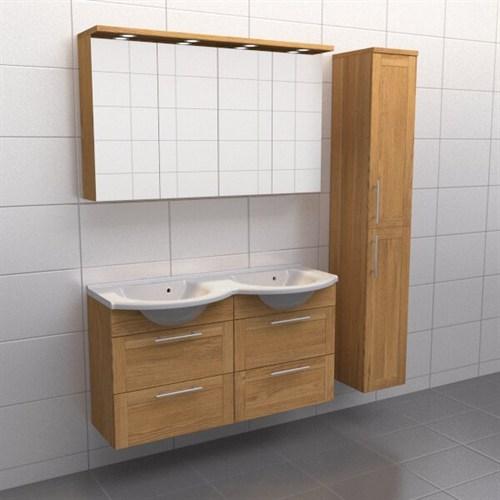 Källa Ek ram Frid 120 cm dubbel Spegelskåp Ja + 30 cm