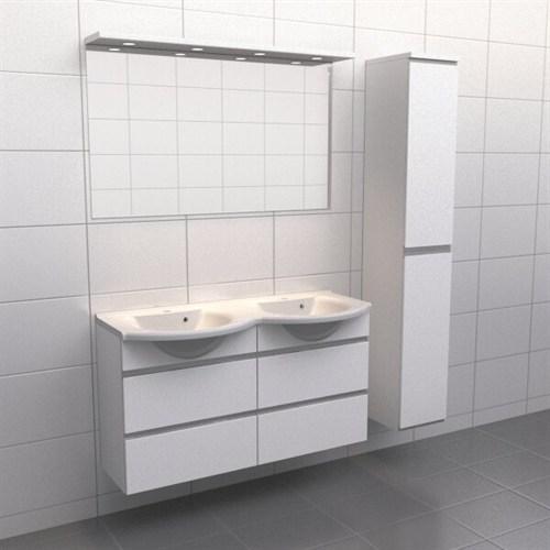 Källa Vit med aluminiumgrepp Frid 120 cm dubbel Spegelramp Ja + 30 cm