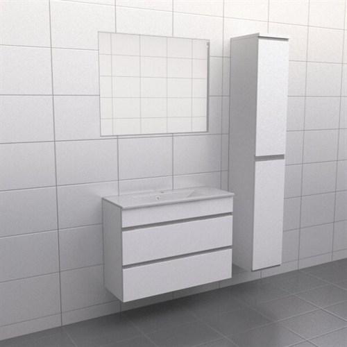 Källa Vit med aluminiumgrepp Lugn 90 cm Spegel Ja + 30 cm