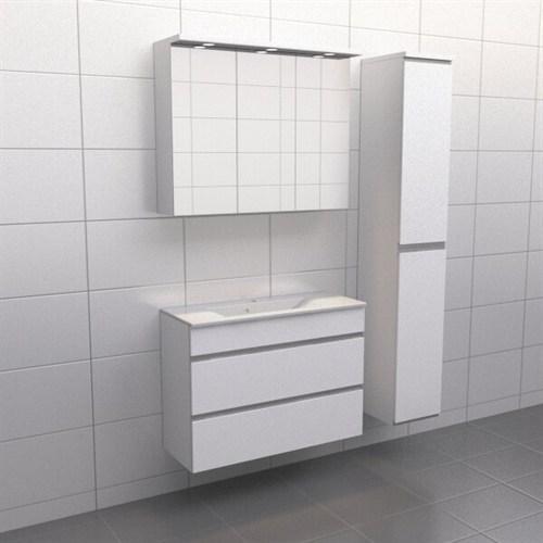 Källa Vit med aluminiumgrepp Lugn 90 cm Spegelskåp Ja + 30 cm