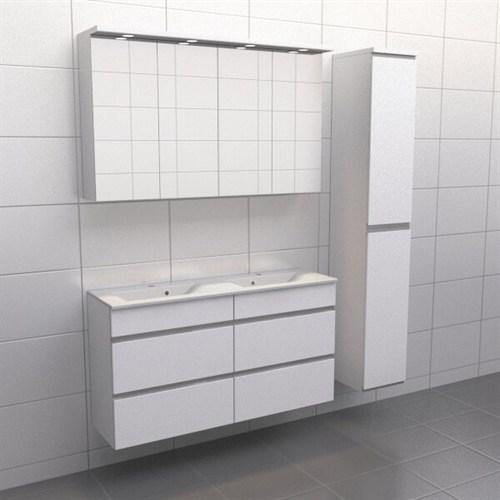 Källa Vit med aluminiumgrepp Lugn 120 cm dubbel Spegelskåp Ja + 30 cm