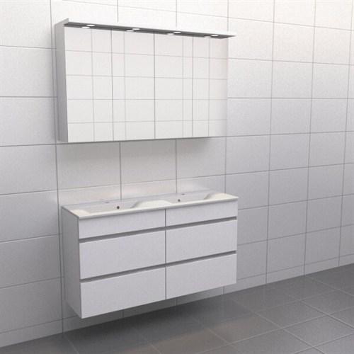 Källa Vit med aluminiumgrepp Lugn 120 cm dubbel Spegelskåp Nej