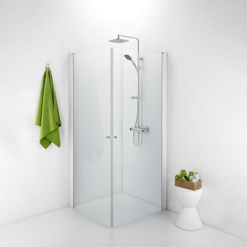 800 x 800 mm Klarglas Ido Showerama 10-02 800 x 800 mm, Klarglas, Borstad aluminium