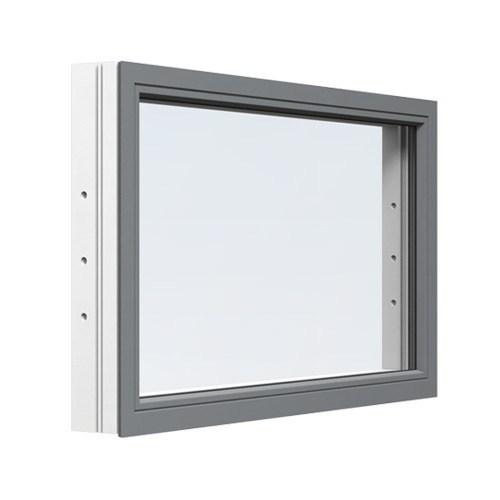 Fast fönster Energi Aluminium 14, 6, Askgrå