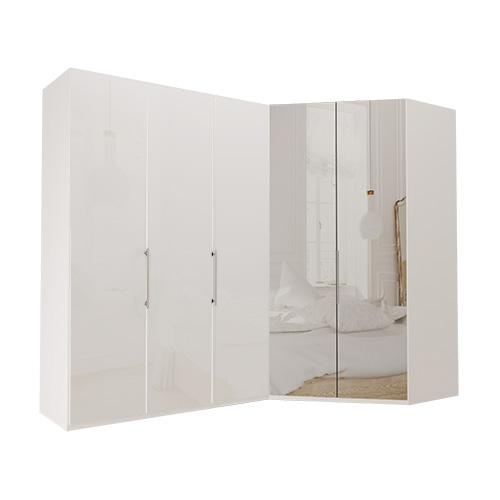 Garderob Atlanta - Vit 150 cm, 216 cm, Vitt glas