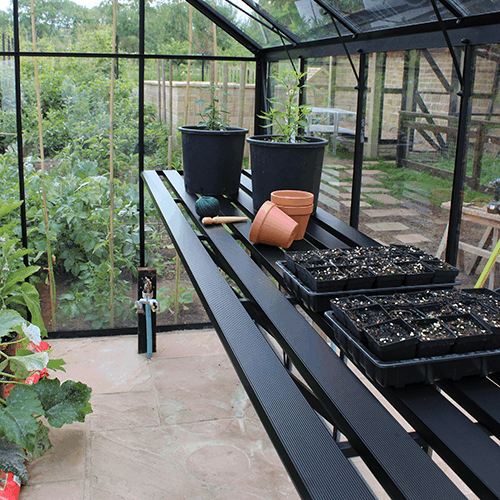 Passar till växthus Odla Växthushylla 248 cm, Svart